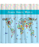 Custom Personalized Shower Curtains -Animal World Map -Girl or Boy- Stan... - $84.00