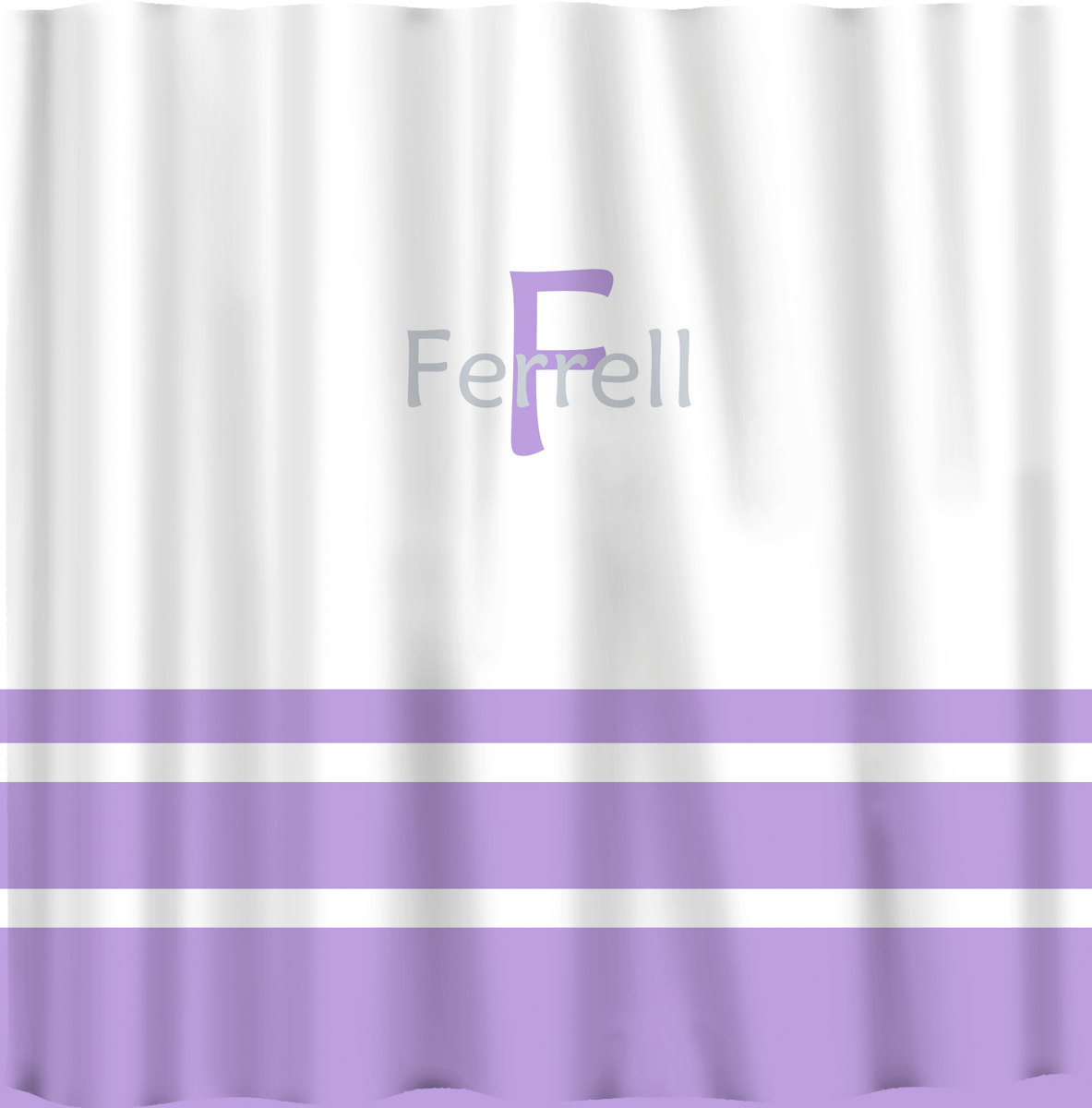 Custom Shower Curtain -Simple Stripe Bottom with monogram in your colors - can d