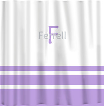 Custom Shower Curtain -Simple Stripe Bottom with monogram in your colors - can d image 2