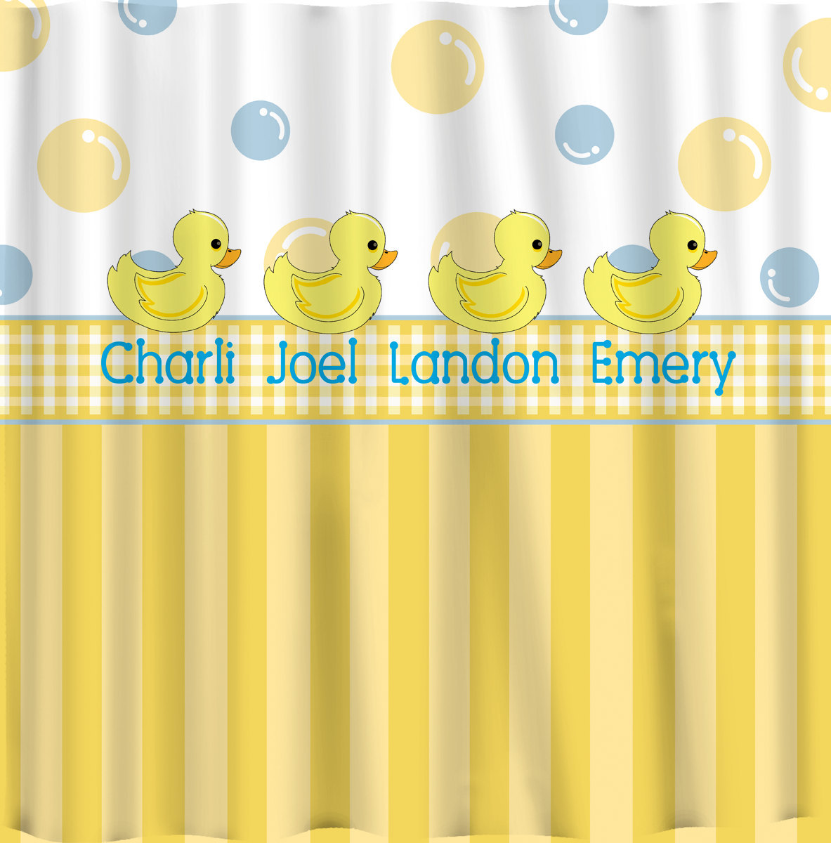 Personalized Rubber Duck Shower Curtains -Yellow with blue accents - Monogrammed