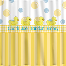 Personalized Rubber Duck Shower Curtains -Yellow with blue accents - Monogrammed - $78.00
