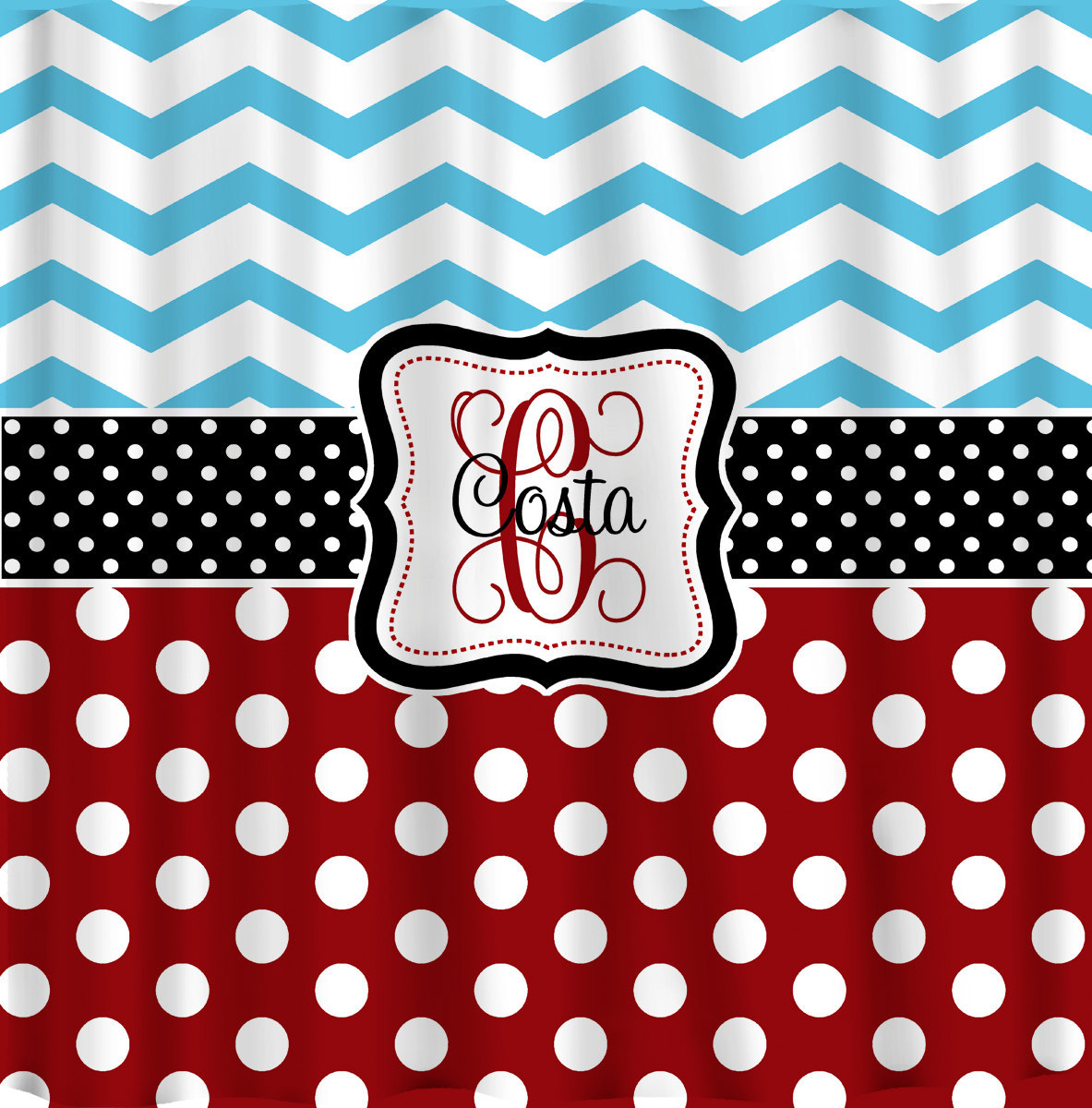 Personalized Shower Curtain -Blue Chevron-Red Polka Dots, Blk and white accents