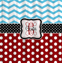 Personalized Shower Curtain -Blue Chevron-Red Polka Dots, Blk and white ... - $78.00