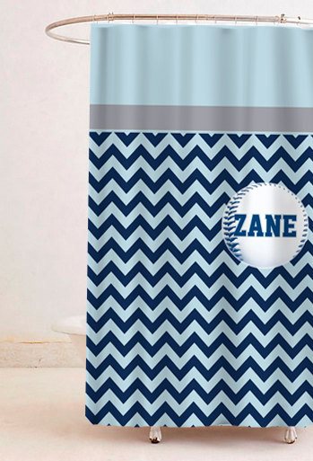 Custom Colors Shower Curtain -Topper Sports Chevron Bottom - Any Sport, ANY colo