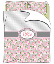 Personalized Custom Pretty In Pink Roses & Stripes  Duvet Cover with pillowcover - $139.00