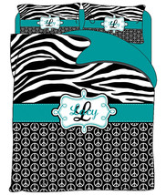 Custom Personalized Zebra and Peace Duvet Cover and Shams- Available Twin, QUEEN - $139.00