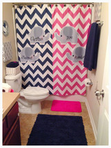 Split Color Elephant Theme Chevron Shower Curtain -Hot Pink and Navy Che... - $78.00