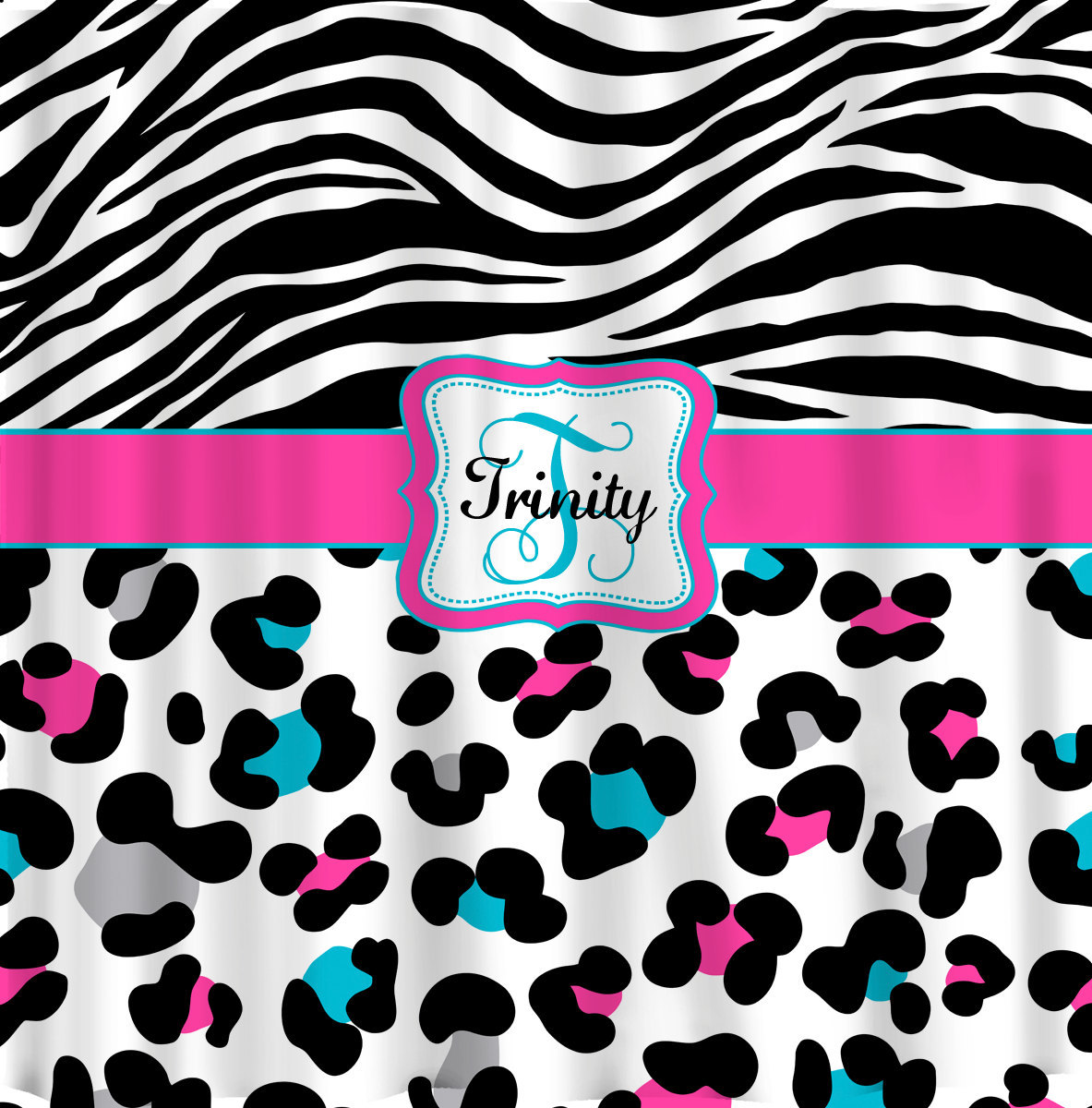 Personalized Shower Curtain - Cheetah and Zebra Custom design - Any Color your c