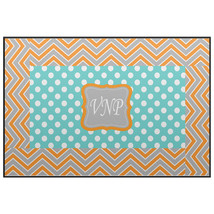 Custom Plush Fuzzy Area Rug -Turquoise-Orange-Grey & White Chevron Polka... - $69.99