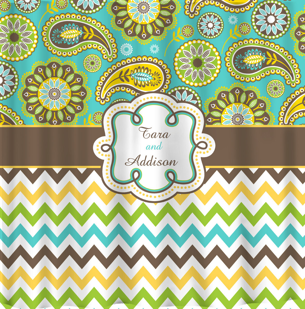 Personalized  Designer Gypsy Paisley  & Chevron Shower Curtain Brown, turquoise,