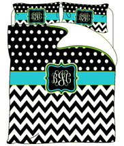 Custom Personalized Chevron & Polka Dots Duvet ... - $264.00