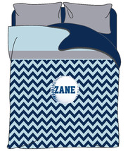 Personalized Custom Topper Chevron Duvet Cover and Pillowcovers - Sport Theme -A - $139.00