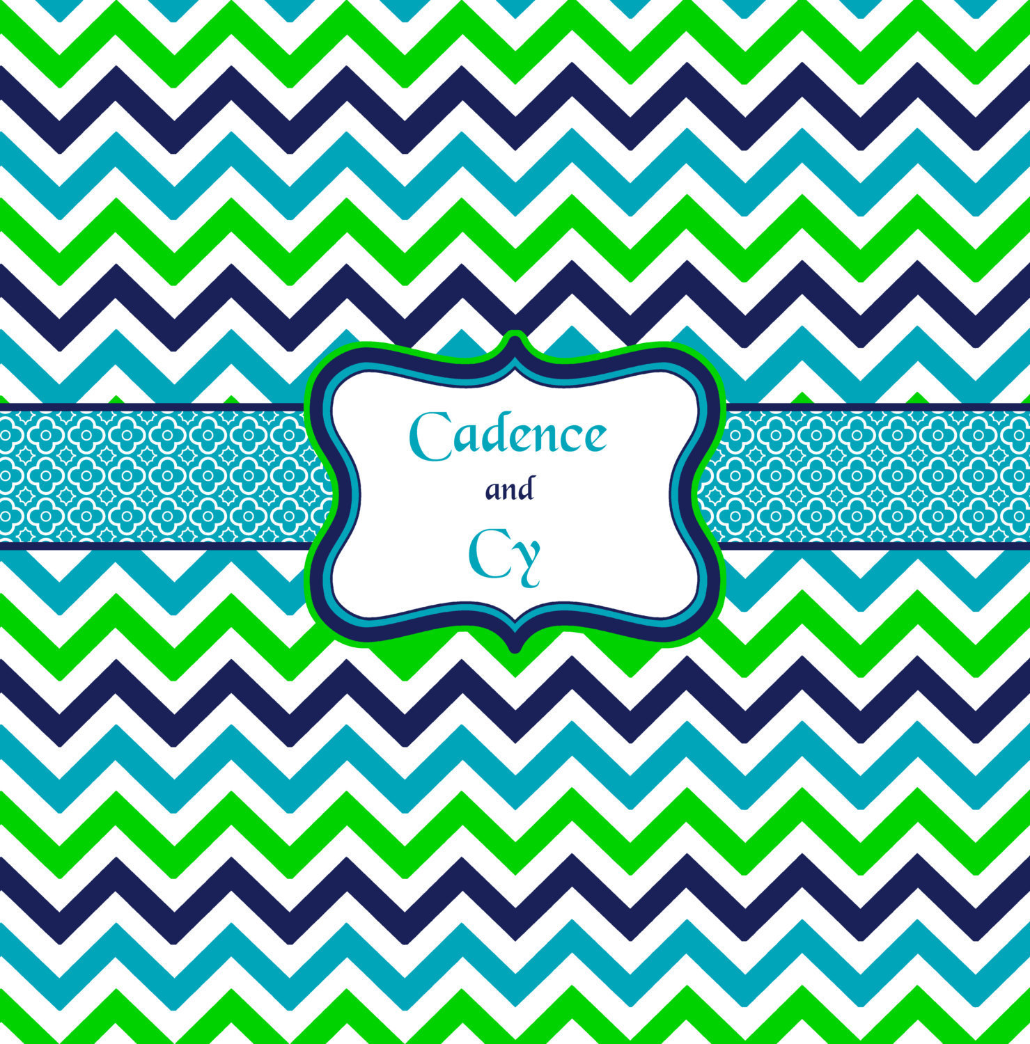 Shower Curtain - Multi Color Lime, Navy, Turquoise and White - Accent Any colors image 2