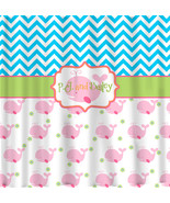 Cute Whale & Chevron Theme Shower Curtains - Personalized Your Choice of... - $78.00