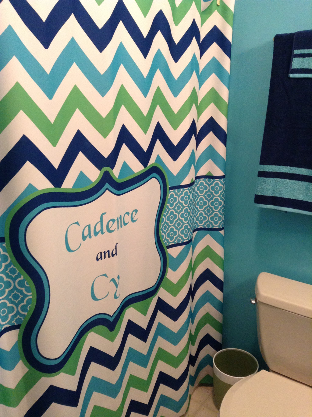 Shower Curtain - Multi Color Lime, Navy, Turquoise and White - Accent Any colors image 3