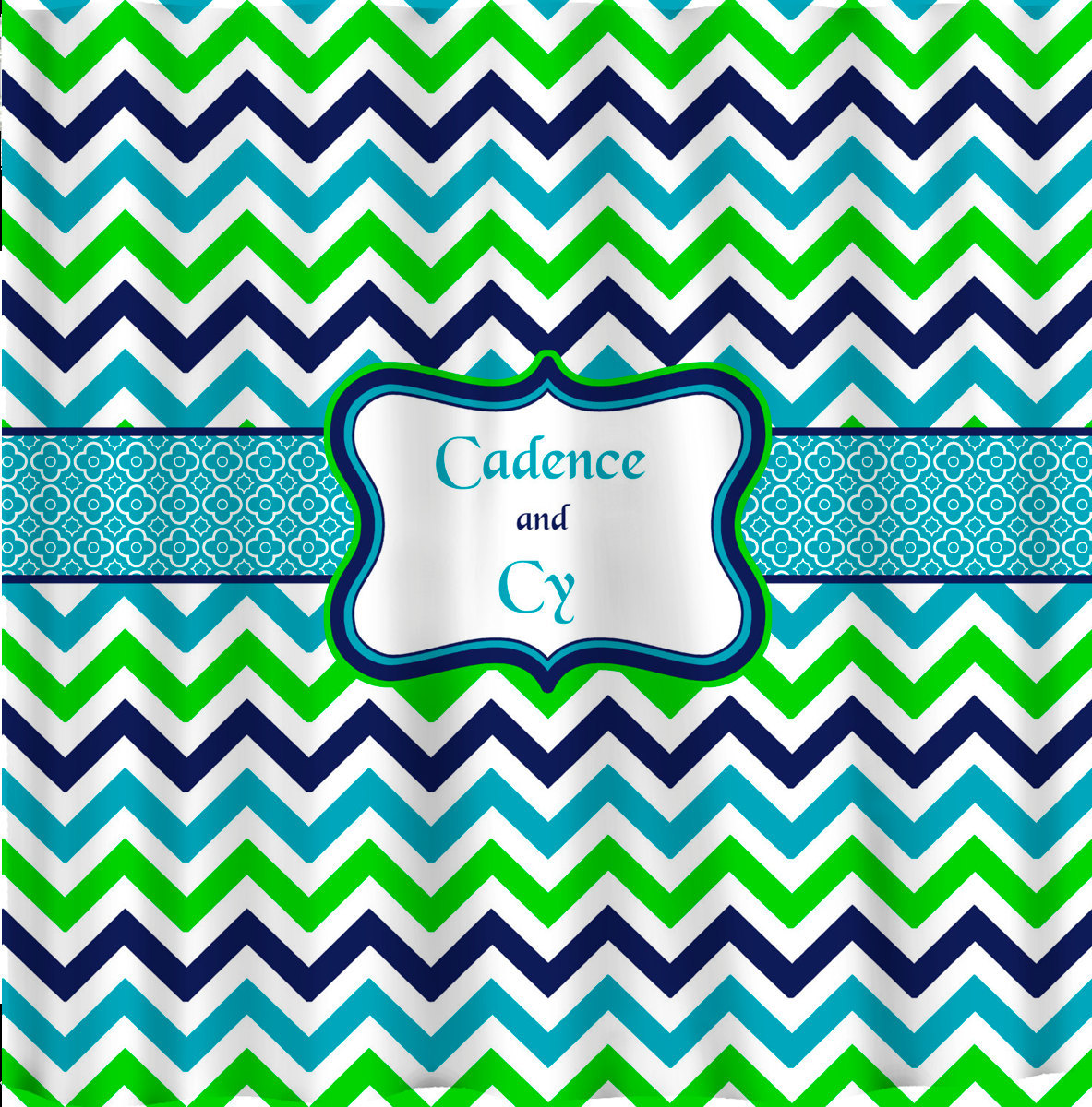 Shower Curtain - Multi Color Lime, Navy, Turquoise and White - Accent Any colors