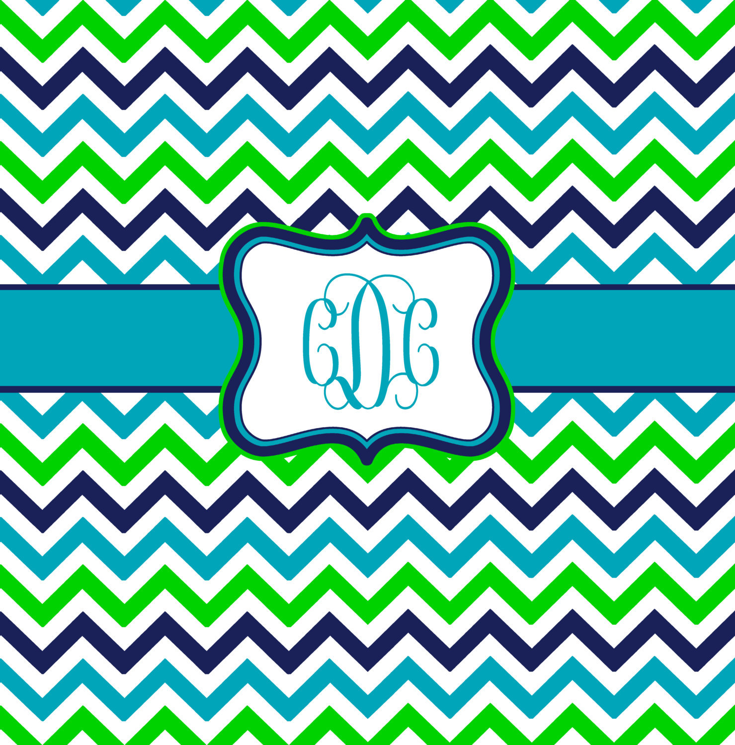 Shower Curtain - Multi Color Lime, Navy, Turquoise and White - Accent Any colors image 4
