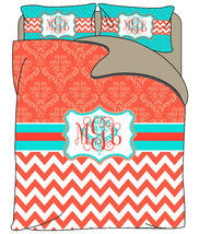 Custom Personalized Chevron and Damask Duvet Cover with shams -Available Twin, Q - $139.00