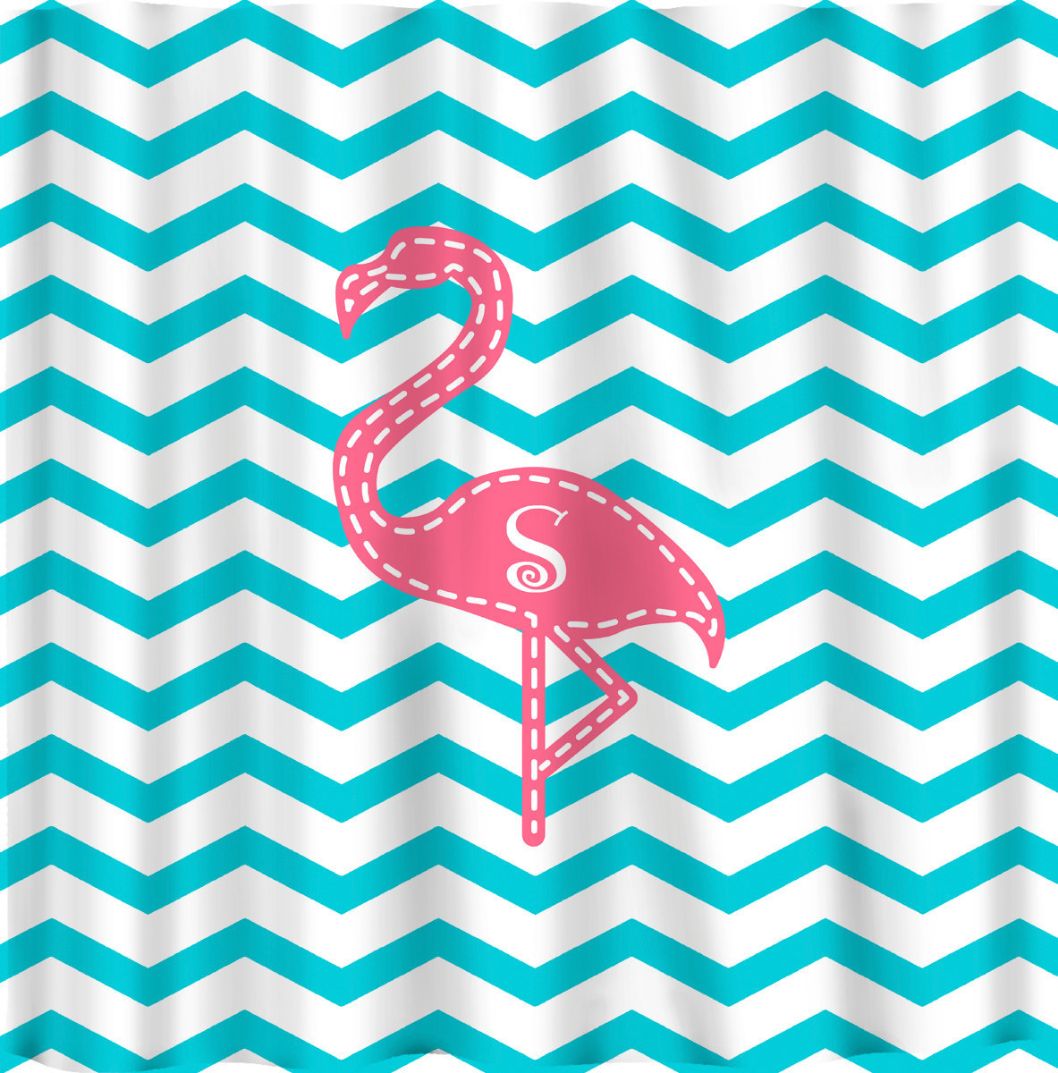 Personalized Pink Flamingo Shower Curtain - Shown -Aqua with Pink and Personaliz