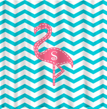 Personalized Pink Flamingo Shower Curtain - Shown -Aqua with Pink and Personaliz - $78.00
