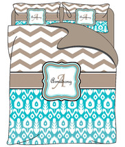 Custom Personalized Chevron and Ikat Duvet Cover with shams -Available T... - $139.00