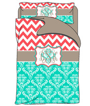Custom Personalized Chevron and Damask Duvet Cover with shams - Twin Bed size - $169.00