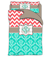 Custom Personalized Chevron and Damask Duvet Cover with shams - Twin Bed... - $169.00