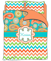 Personalized Custom Gypsy Paisley & Chevron Duvet Cover Set - Full-Queen Size - $264.00