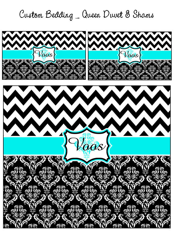 Custom Personalized Chevron Damask Duvet Cover and Shams- Twin, QUEEN  or King s - $139.00