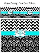 Custom Personalized Chevron Damask Duvet Cover and Shams- Twin, QUEEN  o... - $139.00