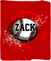 Personalized Baseball Fleece Blanket - Your Name/Text - Any Color - €58,35 EUR