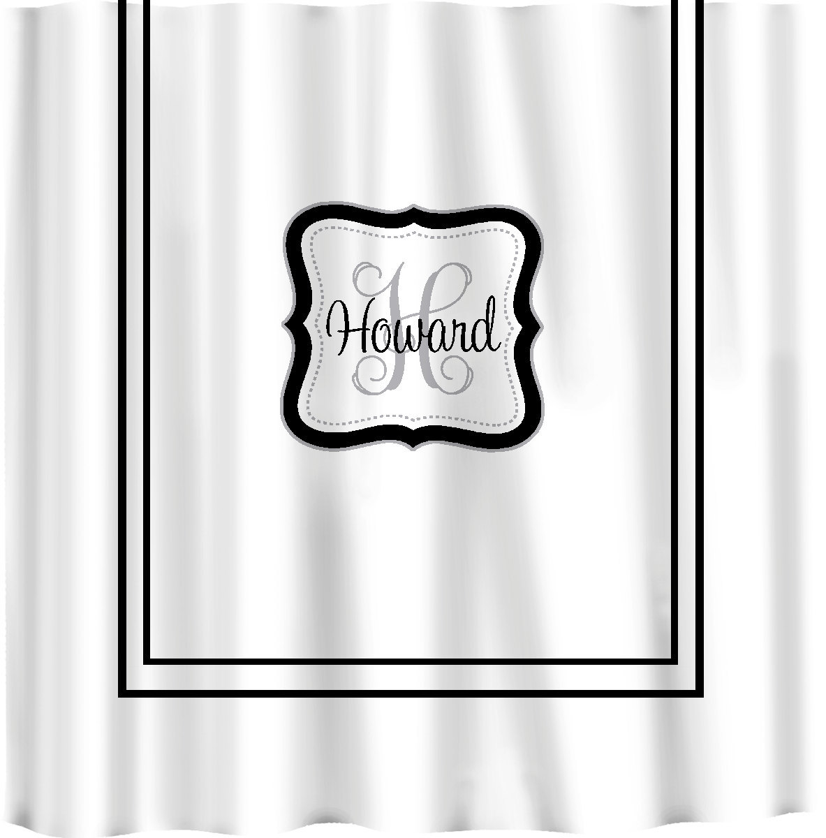 Custom Shower Curtain -Simplicity with monogram in your colors - any color backg