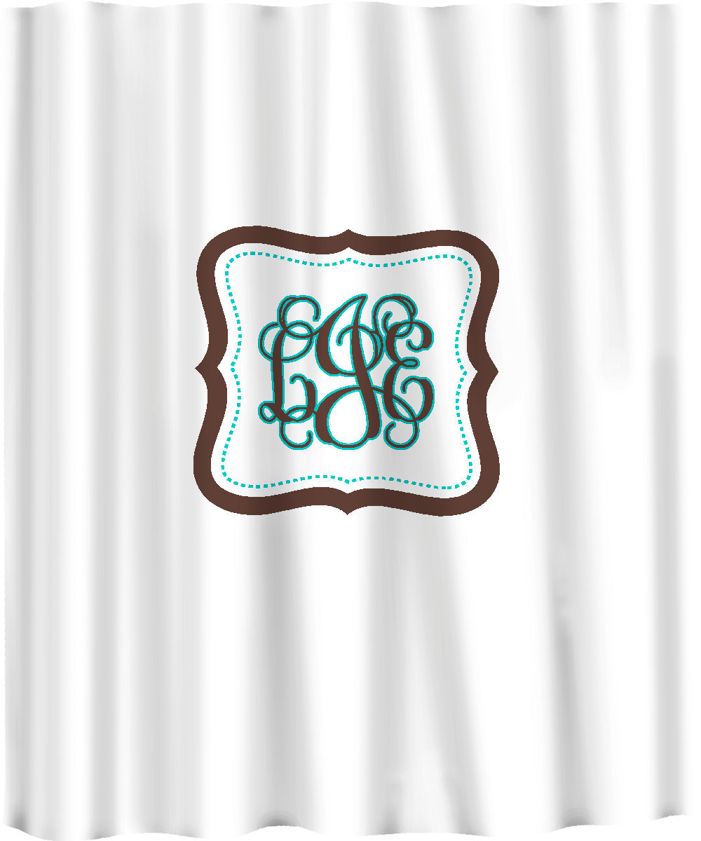 Custom Shower Curtain -Simplicity with monogram in your colors - any color backg image 4