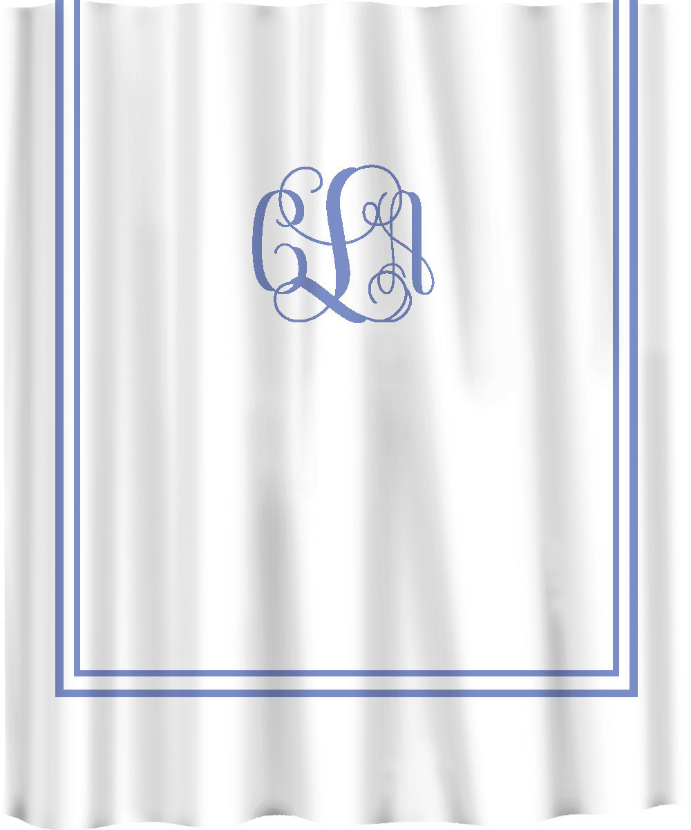 Custom Shower Curtain -Simplicity with monogram in your colors - any color backg image 2