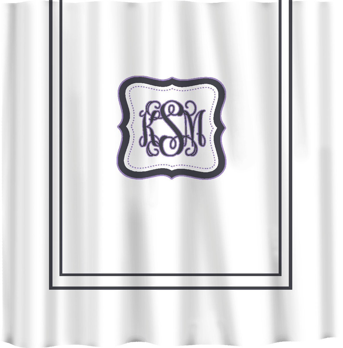 Custom Shower Curtain -Simplicity with monogram in your colors - any color backg image 5