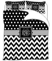 Custom Personalized Chevron & Polka Dots Duvet and Shams  Black-white and Grey - - $139.00