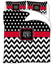 Custom Personalized Chevron & Polka Dots Duvet and Shams  Black-white an... - $139.00