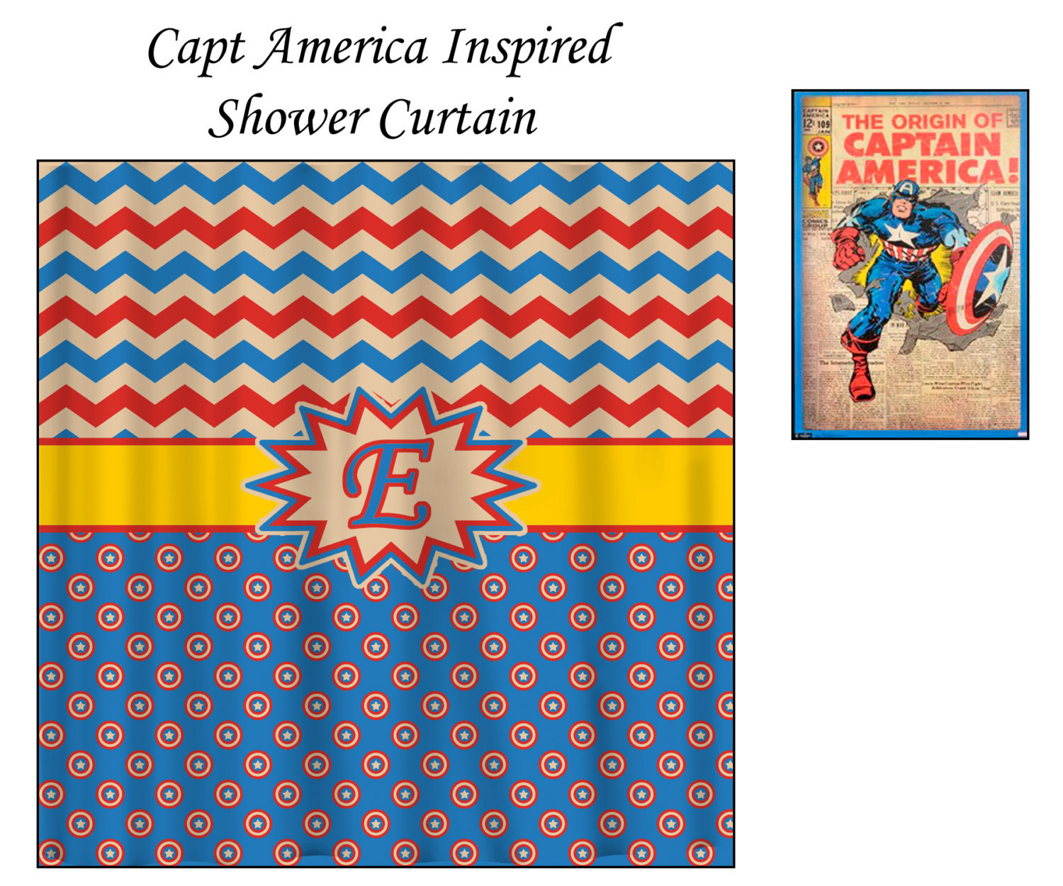 Personalized Shower Curtain - Capt America Inspired Theme- shown here Blue, Red, image 4