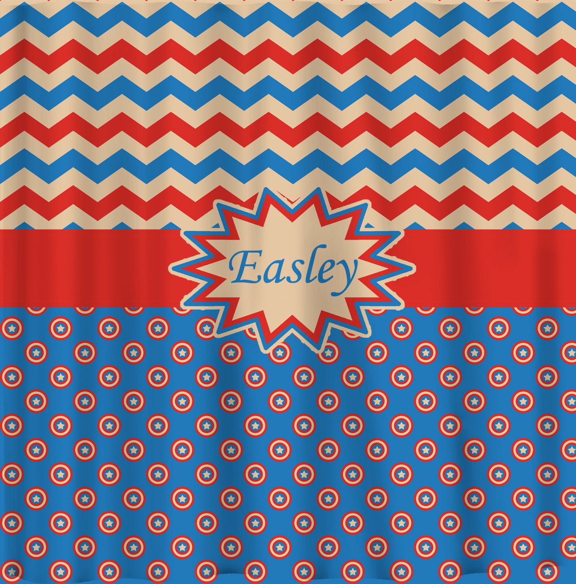 Personalized Shower Curtain - Capt America Inspired Theme- shown here Blue, Red,