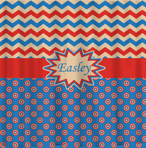Personalized Shower Curtain - Capt America Inspired Theme- shown here Blue, Red, image 1