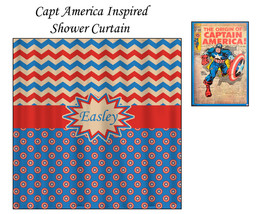 Personalized Shower Curtain - Capt America Inspired Theme- shown here Blue, Red, image 3