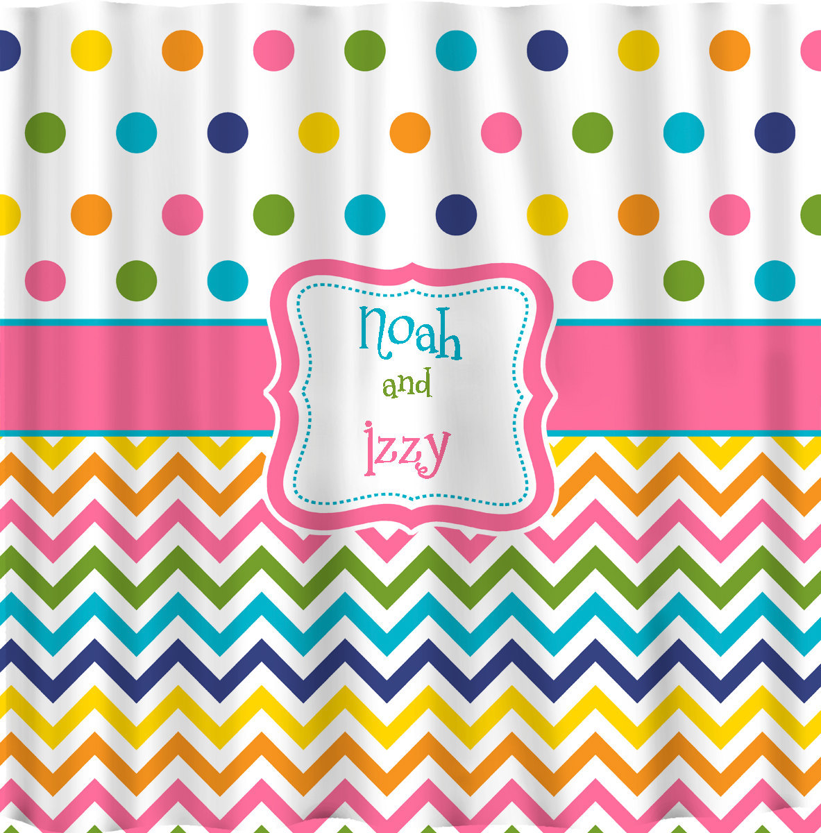 Shower Curtain - Confetti Multi color Dots and Chevron - Any colors of your choi