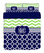 Custom Personalized Chevron-Quatrefoil Duvet Cover and Pillowcovers in F... - $264.00