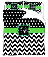Custom Personalized Chevron & Polka Dots Duvet Cover Black and white wit... - $264.00