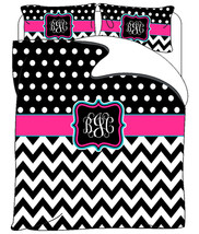 Custom Personalized Chevron & Polka Dots Duvet Cover -Available Tw-FQu-King Size - $264.00