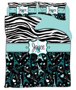 I Love Paris & Zebra Designer Duvet Cover- Personalized w coordinated sh... - $264.00