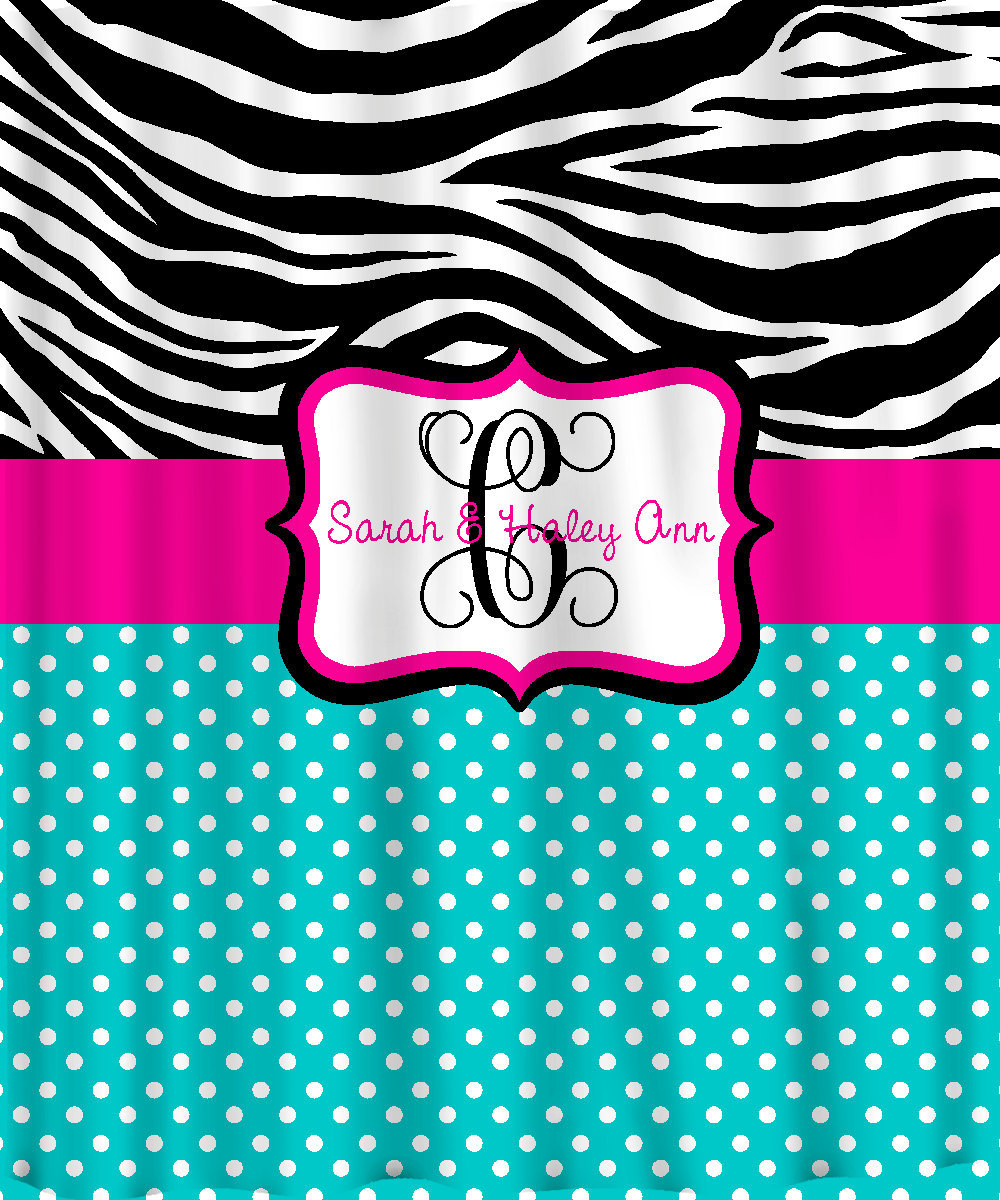 Personalized Shower Curtain -Custom with your Name or Initials -Zebra with any c