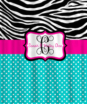 Personalized Shower Curtain -Custom with your Name or Initials -Zebra with any c image 1