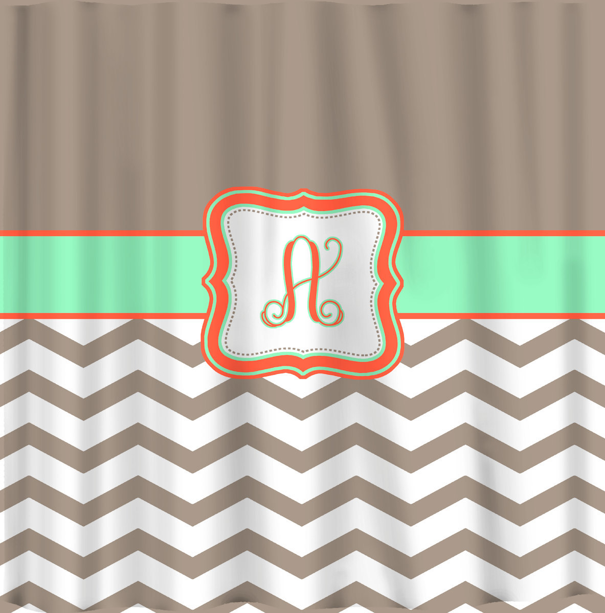 Custom Personalized Chevron and Solid Shower Curtain - your colors - shown Taupe