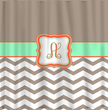 Custom Personalized Chevron and Solid Shower Curtain - your colors - shown Taupe - $78.00